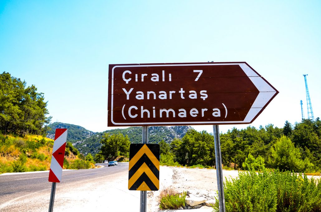 table of Cirali on the road