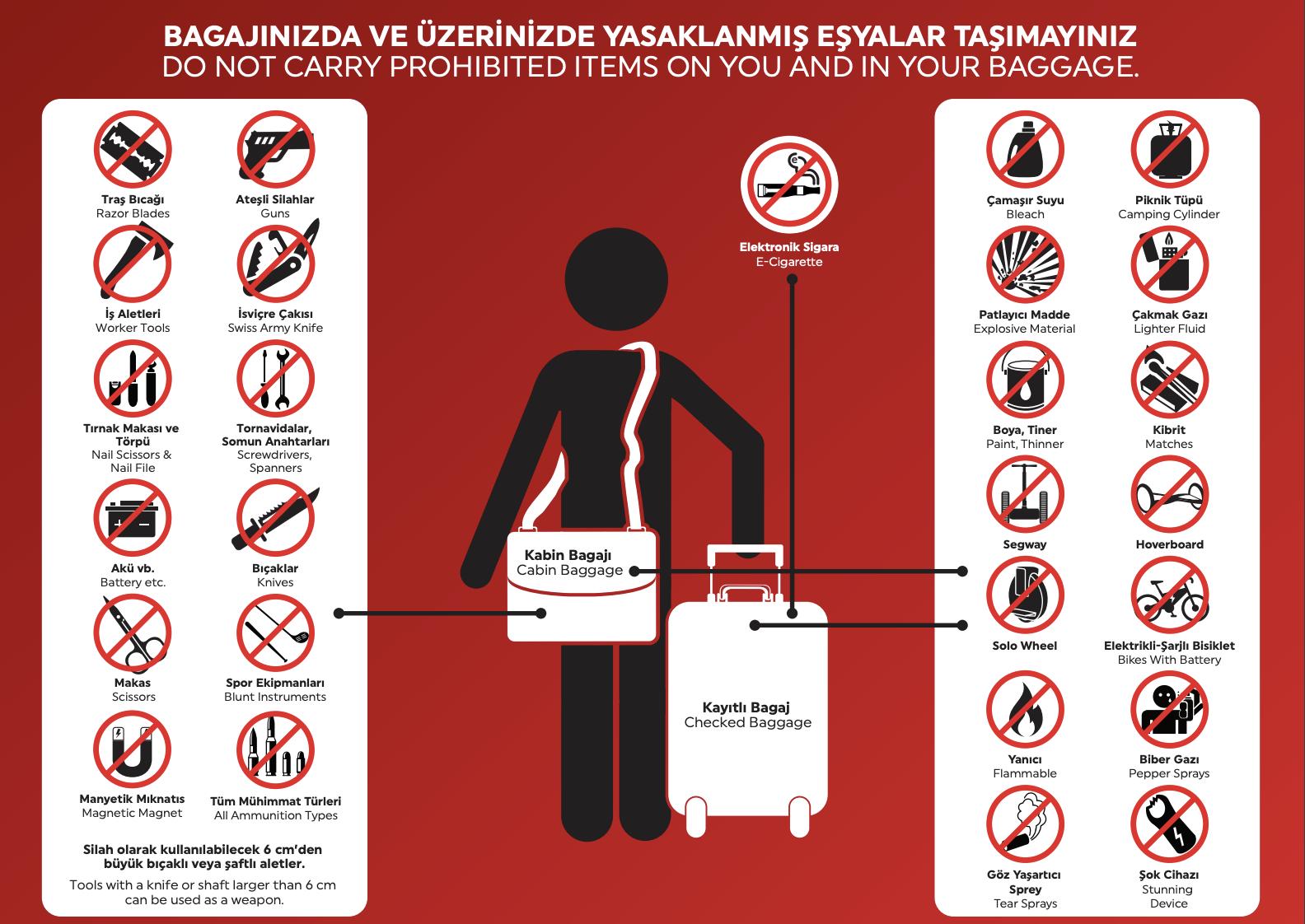 uçakta taşınması yasak olan bagaj ve eşyalar.
